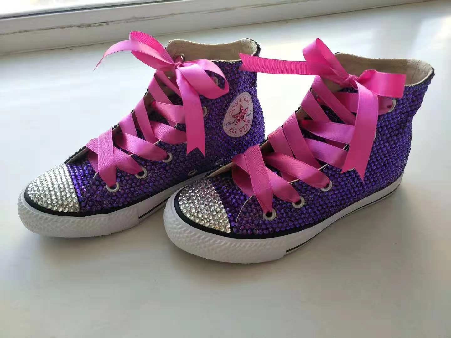 Purple Rhinestone Converse Shoes bling converse sparkly crystal high top converse sneaker Bridal Flower Girl Sneaker Shoes satin lace ribbon