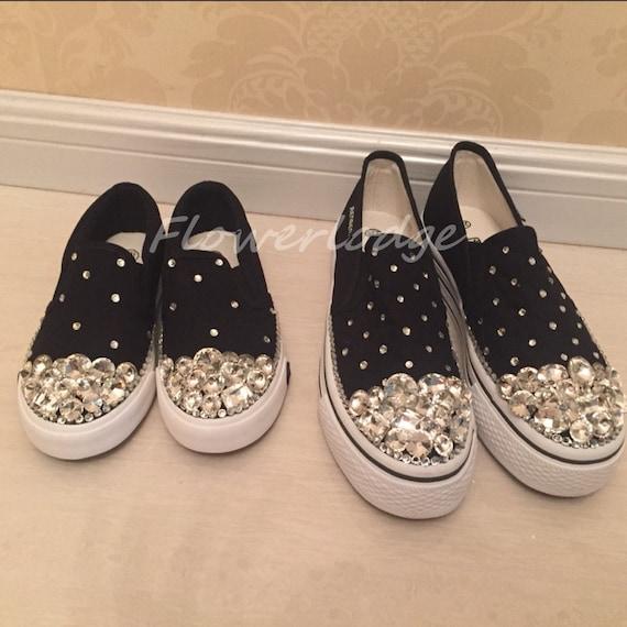 Glitter Rhinestone Canvas Shoes Custom Adult Children Shoes  ff9de56e7a