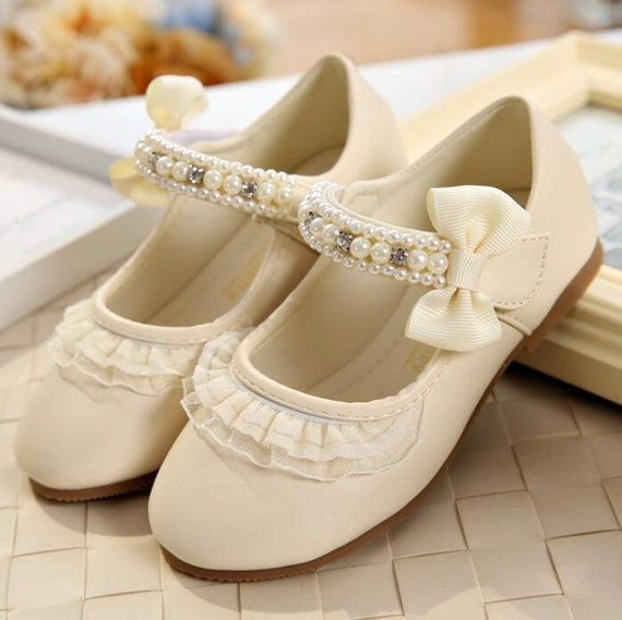 Ivory Flower Girl Shoes Bow Lace Pearl
