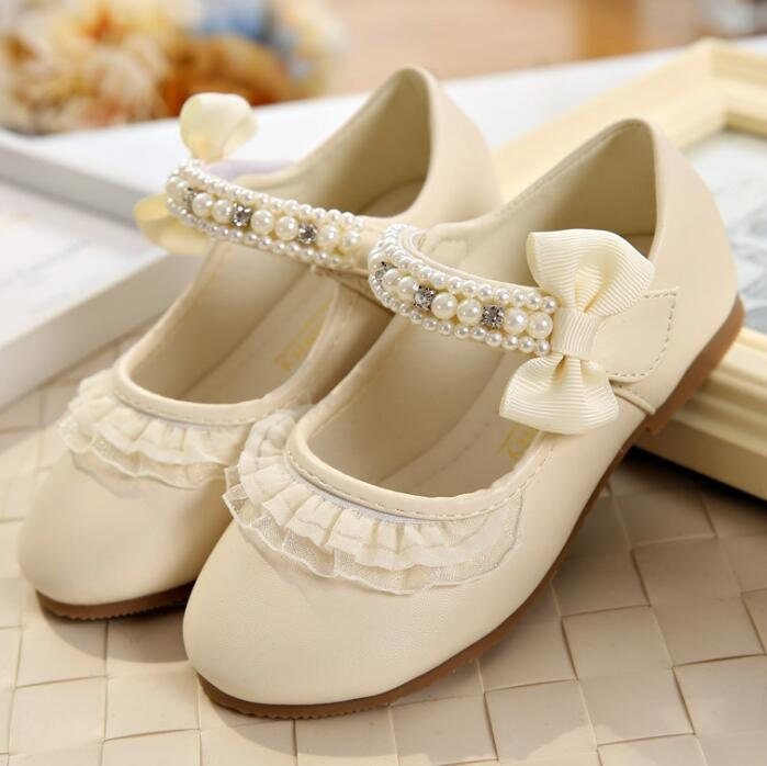 372a3dae6f57 Ivory Flower Girl Shoes Bow Lace Pearl Stones Toddler Girl