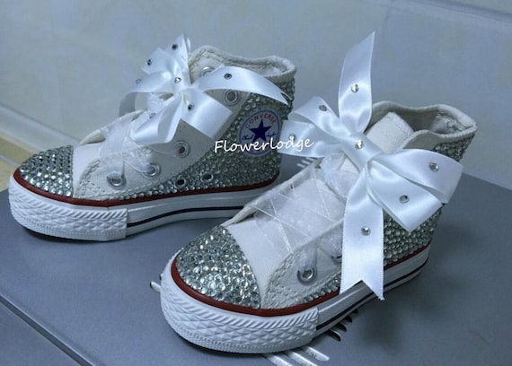 Sparkly Toddler Girl Sneaker Converse Shoes Ribbon Bow Custom  9db4f597ef