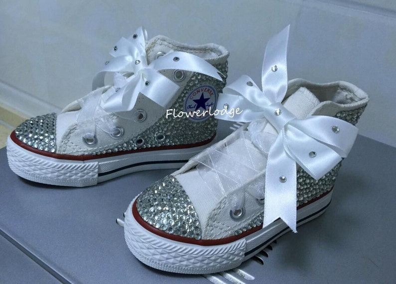 1530f46922cc Sparkly Toddler Girl Sneaker Converse Shoes Ribbon Bow Custom