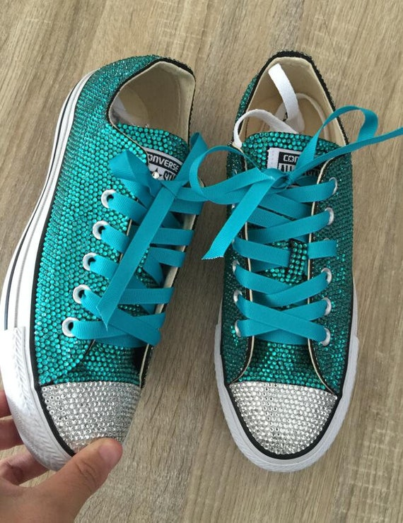 Teal Rhinestone Converse Shoes glitter converse sneaker lowhigh top sneaker shoes Bridal Flower Girl Shoes satin lace ribbon