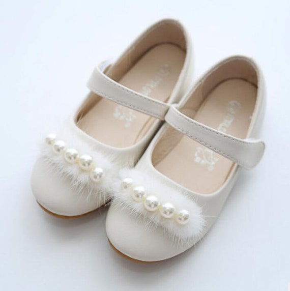 Ivory Flower Girl Shoes Fluffy Ivory Pearl Toddler Girl Shoes Pearl Pom Pom Party Shoes Mary Jane Shoes Genuine Leather Shoes For Girls