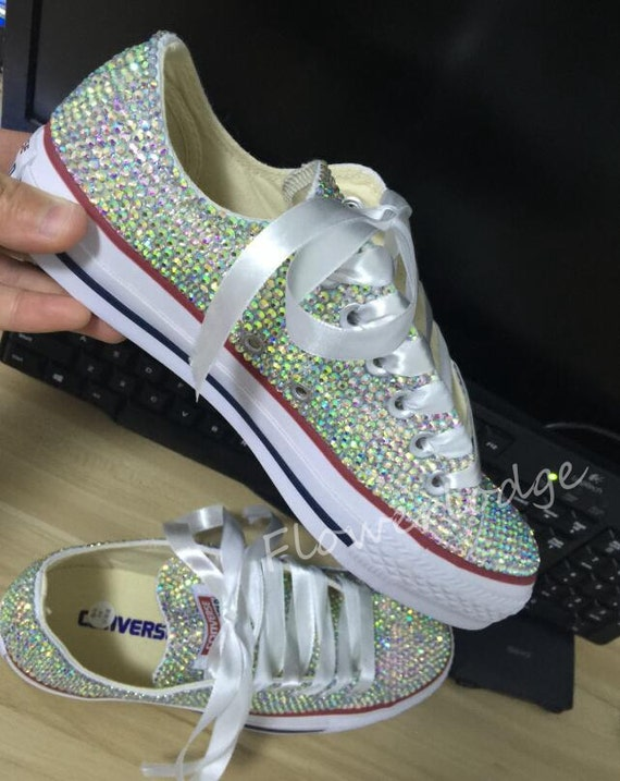 Rhinestone Converse Shoes sparkly converse sparkle AB crystal Low top converse sneaker Wedding Flower Girl Shoes satin lace ribbon