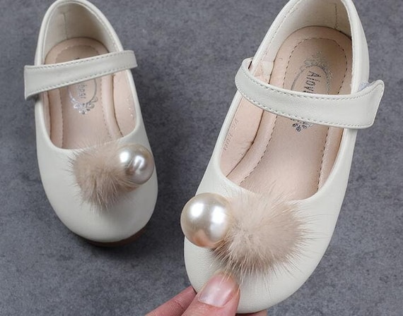 15dbe0b53099d Girls Ivory Shoes little bridesmaid flower girl shoes slippers beige  pompoms ivory pearl stones