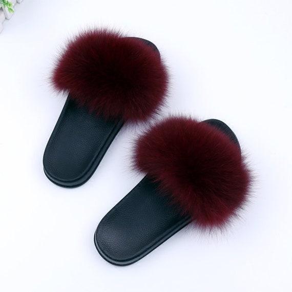 2ec12bdef703 Fluffy Sandals Plush Puffs Flip Flops Fox Fur Sandals Burgundy