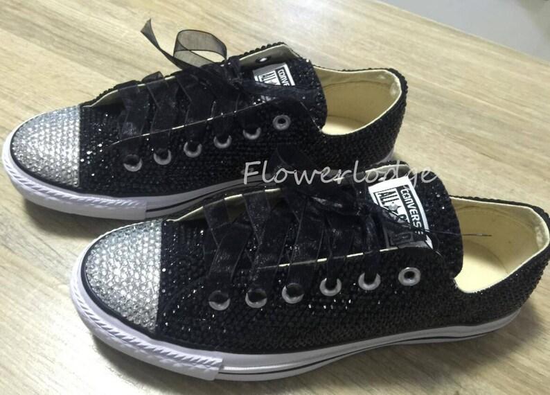 e4be9891de8b8a Custom low high-top sneaker shoes Black Rhinestone Converse