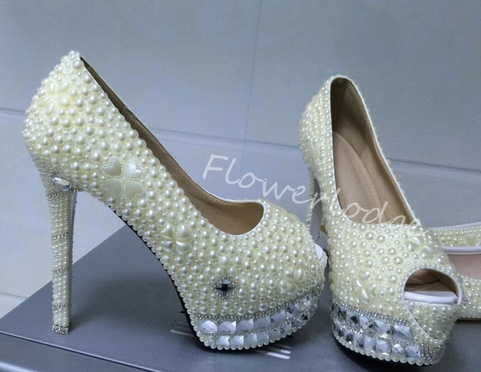 custom ivory/white women shoes personalized ballet flat shoes match heels