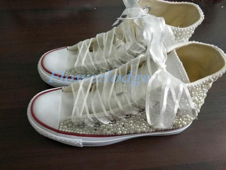 5e2d94e8453f Ivory Converse Sneakers Shoes White Silk Ribbon Ivory Pearl