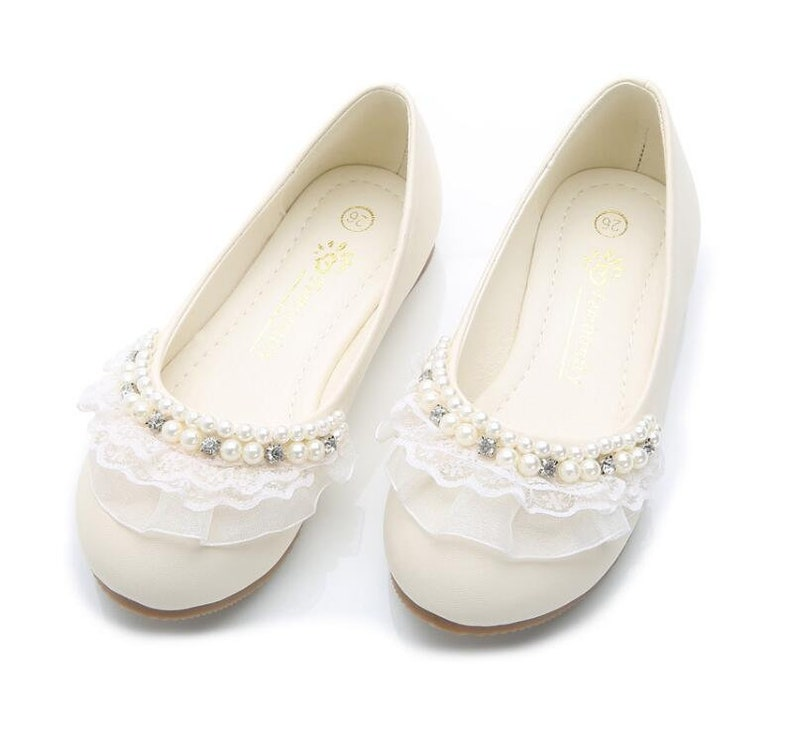 e6653774351cd Slip On Slippers Girls ivory off white shoes lace design simple flower girl  shoes toddler ivory slippers