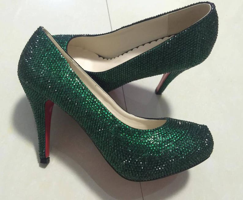 5281aa49290f Dark Green Rhinestone Classic Pumps Slippers Sparkly Women
