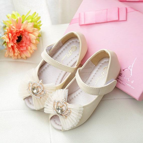 Ivory flower girl shoes toddler girl shoes peep toe off white etsy image 0 mightylinksfo