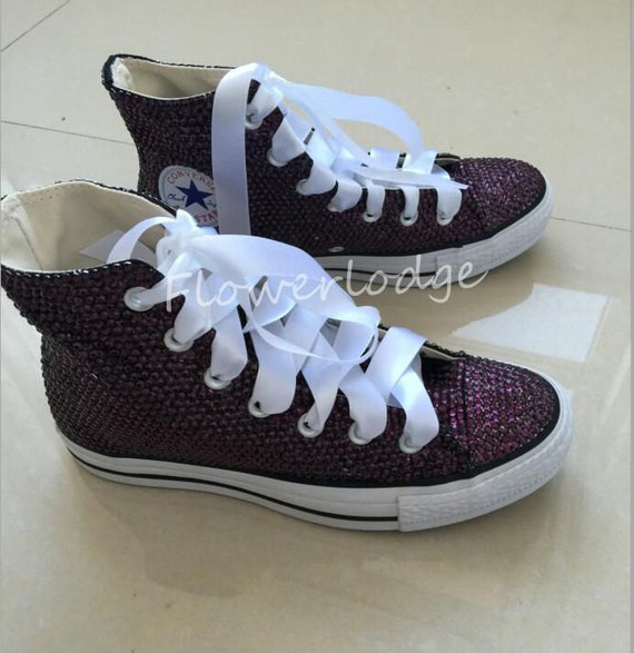 Purple Rhinestone Converse Shoes bling converse sparkle shiny deep purple crystal high top sneaker Bridal Flower Girl Shoes Lace Sation Bow