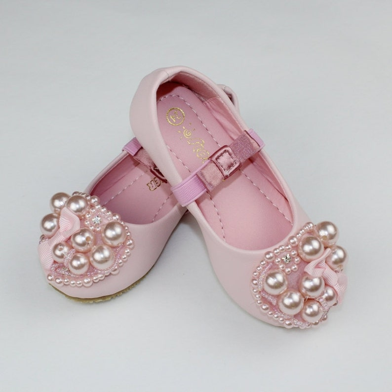 db4ca68c738d1 Light Pink Flower Girl Shoes/ Toddler Girl Shoes/Pearl Party Shoes/Bow  Girls Shoes Little Toddler/Youth Girls Genuine Leather Soft Shoes