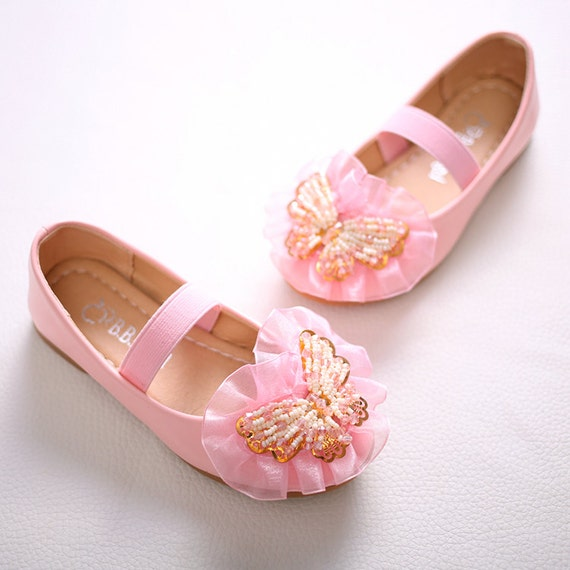 Soft Pink Flower Girl Shoes Butterfly Inspired Bridesmaid Etsy