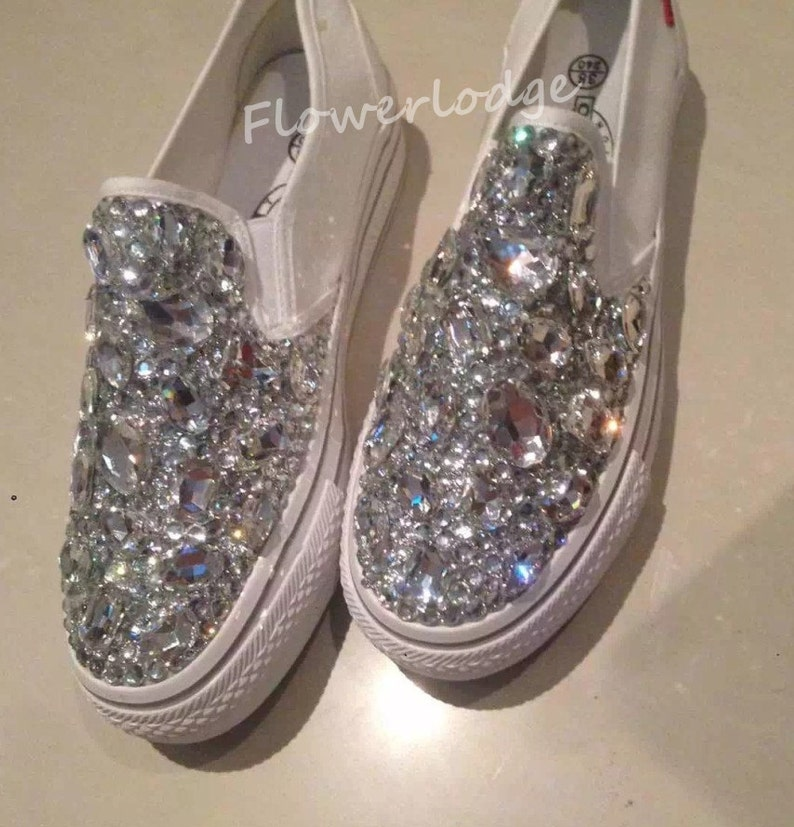 de8f0e18267b2e Swarovski bling canvas shoes-silver clean bling sneaker