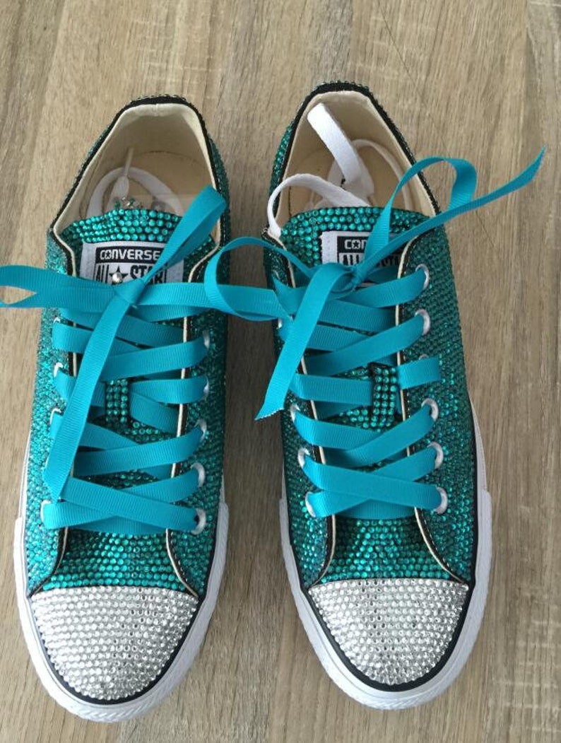81b88b6be198b Teal Rhinestone Converse Shoes glitter converse sneaker low/high- top  sneaker shoes Bridal Flower Girl Shoes satin lace ribbon