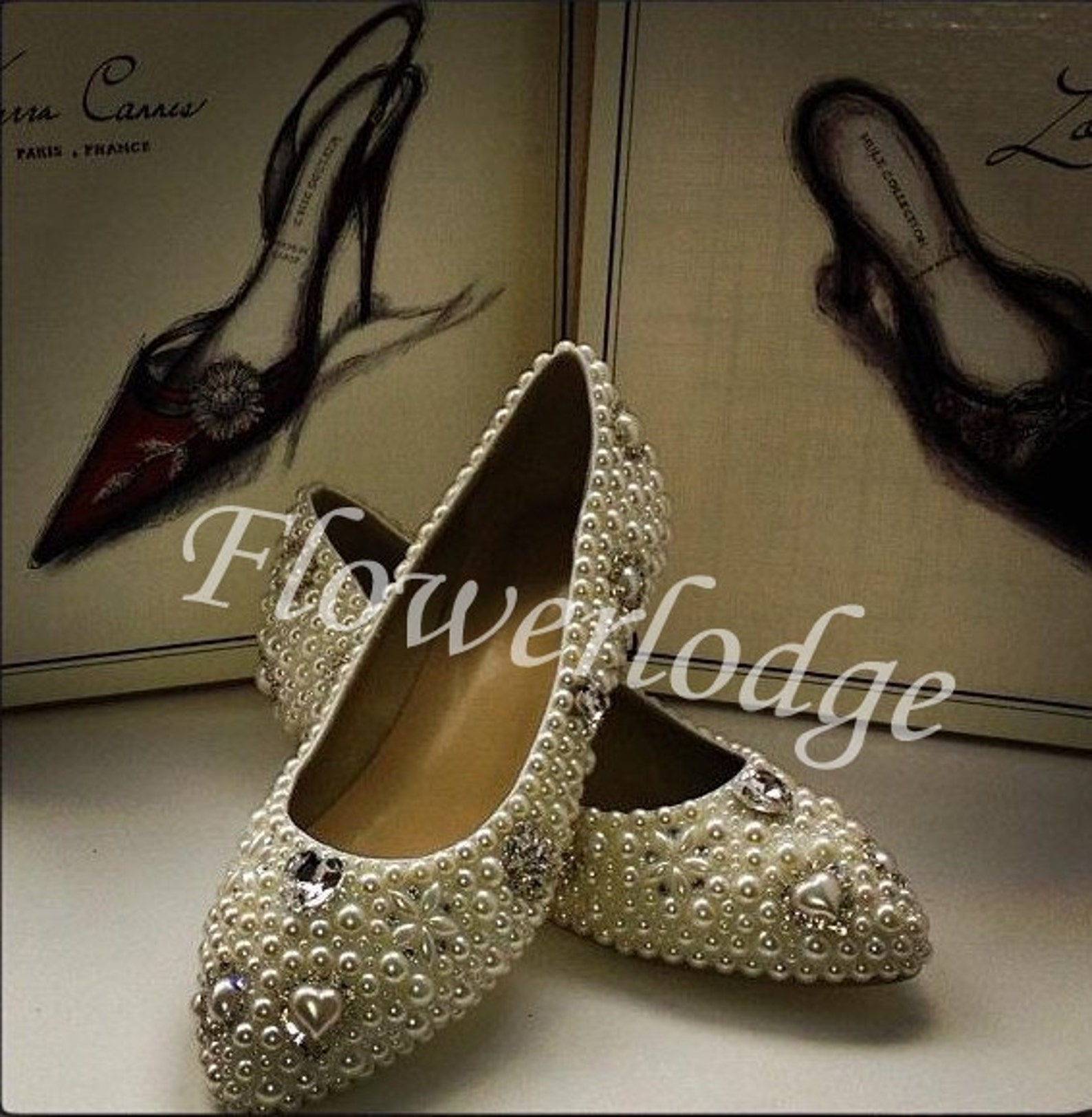 ivory pearl ballet flats shoes rhinestone crystal pearl beads dance flats leather women shoes soft comfortable flat shoes
