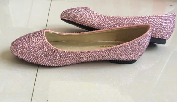 Crystal Ballet Flats Shoes Pink Glitter bling crystal stones  b6749a537f