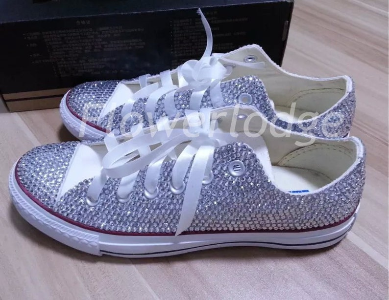 35a2e4979c0d Rhineston Converse Shoes basic white chucks silver crystals
