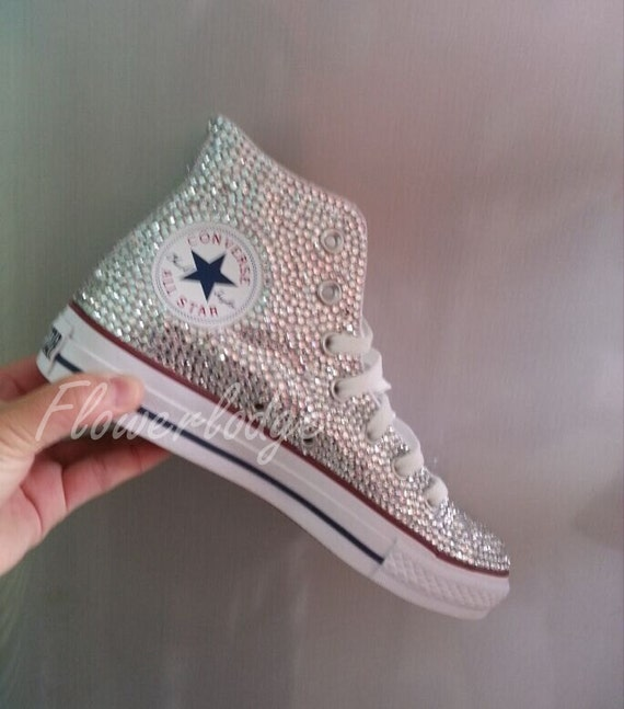 White Flower Girl Shoes Bling Converse Sparkle Silver Etsy
