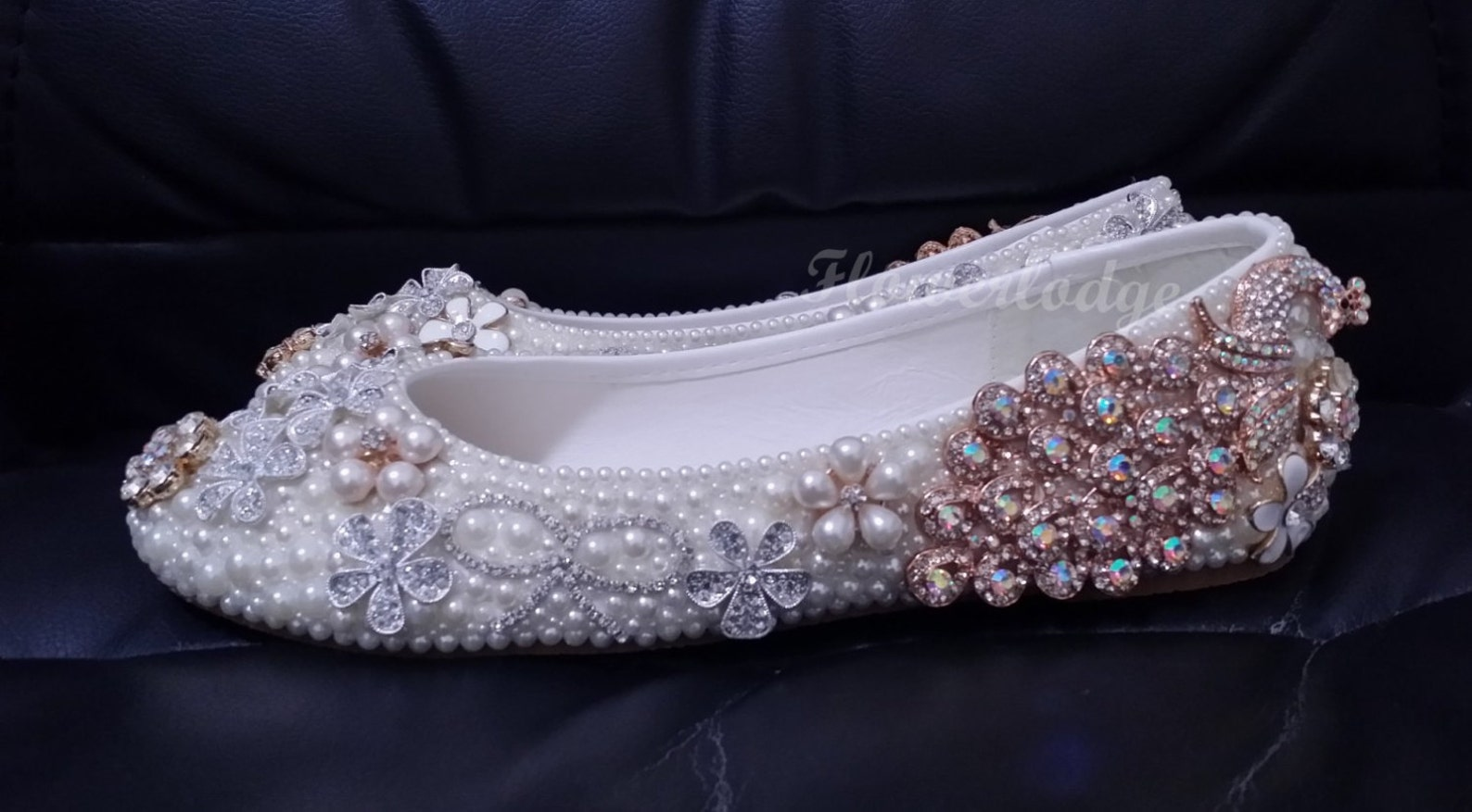 unique women flat shoes ivory pearl rhinestone ballet flats peacock glitter crystal cute bow flowers handmade to order women/gir