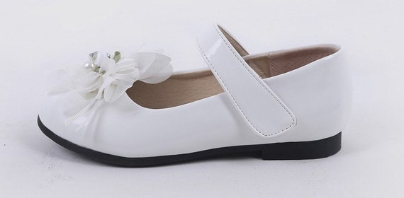 White Lace Flowers Flower Girl Shoes Pure White Leather Shoes Etsy
