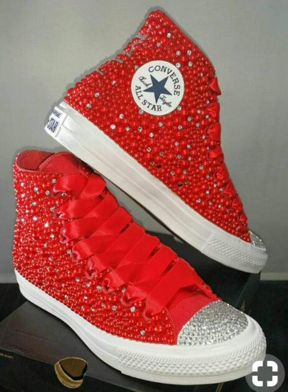 f54dad0d5acb Rhinestone Converse Shoes bling converse Red crystal stones high top  converse sneaker Bridal Flower Girl Sneaker Shoes red satin lace ribbon