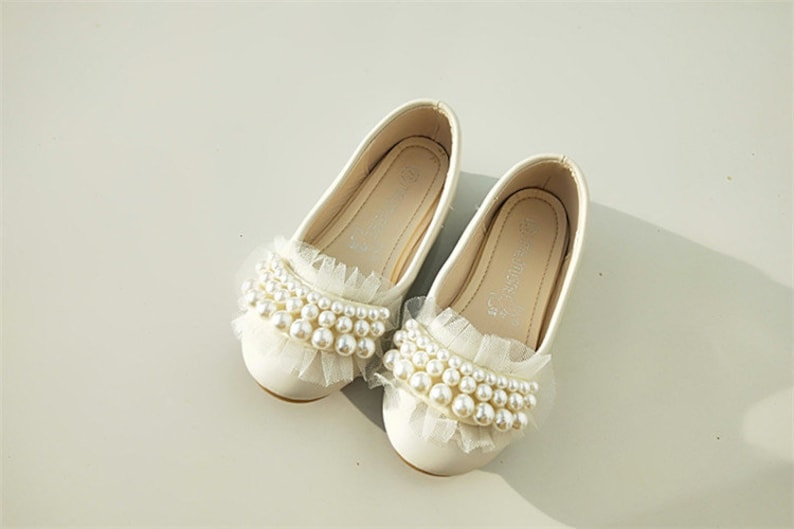 8bd2d89f707db Ivory Flower Girl Shoes Lace Toddler Girl Shoes Pearl Stones Lace Ribbon  Little Girls Shoes