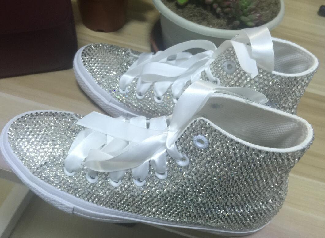 White crystal sneaker shoes white thicker ribbon custom high and top shoes for women and high girls 1f5709