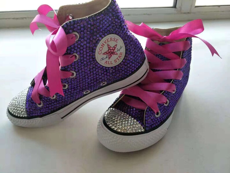 Purple Rhinestone Converse Shoes bling converse sparkly  7225955812