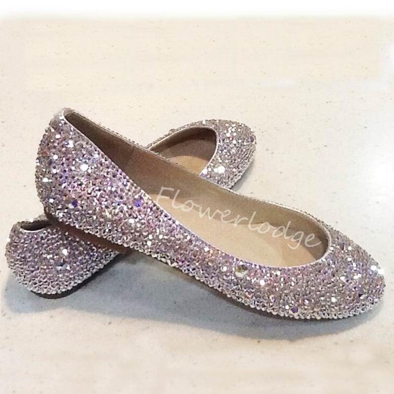 fce2490b69c39 Closed Toe Women Clean Swarovski Crystal Ballet Flat Shoes Bridesmaid  Custom Lady Slipper Shoes