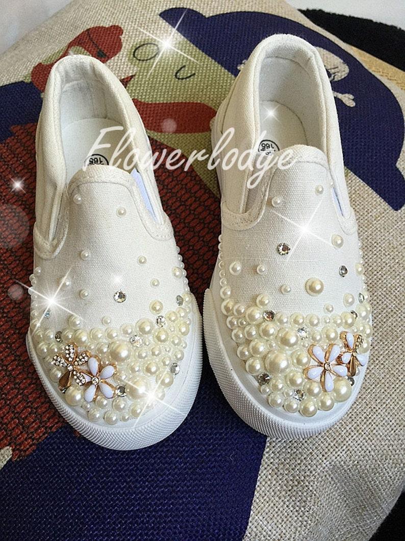 Custom Girls Shoes ivory Pearl Flower Girl Shoes Canvas Girl  e59956254603