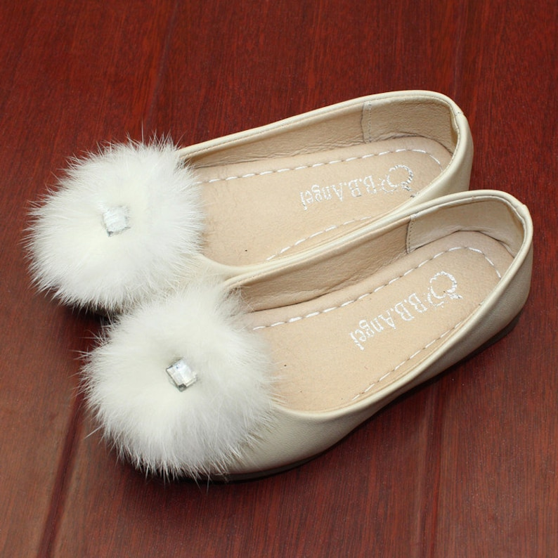 013dd8757830a Pompom Flower Girl Shoes Ivory Leather Shoes Girls Fox Furry Children Shoes  Clean Diamond