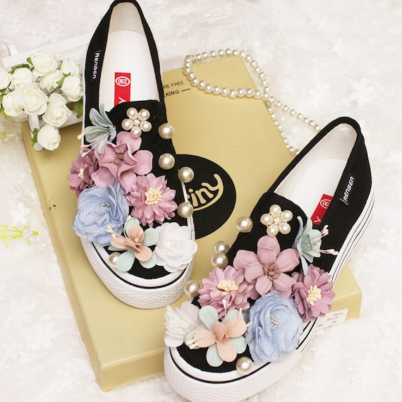 Chic nice floral canvas shoes-cute