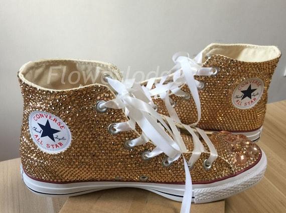 light gold Rhinestone Converse glitter champagne Shoes high  990d8a5c3