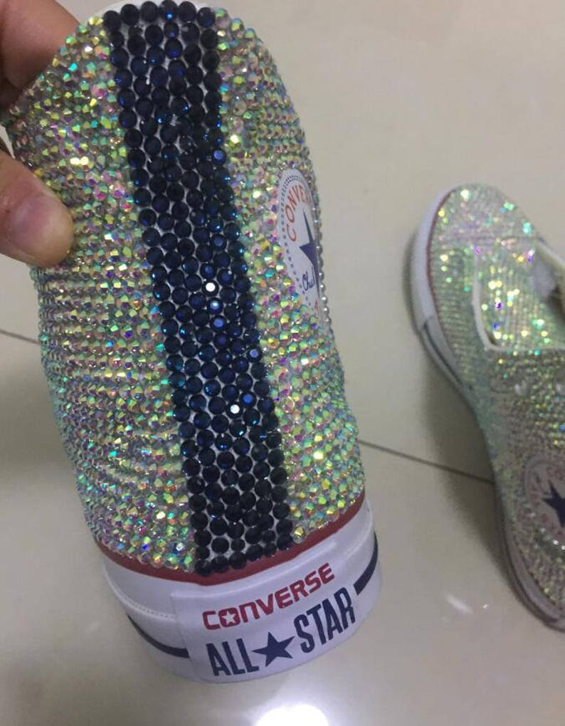 8ccd355d6e91 Bling converse Sparkly AB crystal Back Navy Blue Bling high