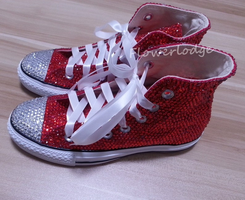 43c419f753b838 High Top Converse Shoes with red rhinestone prom shoes red