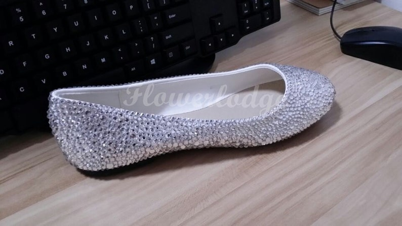 249887318cb45 Silver Crystal Women Flat Shoes Clean Stones Ballet Flats Bling Shoes  Customize shoes for Adult Women and Children Toddler Youth