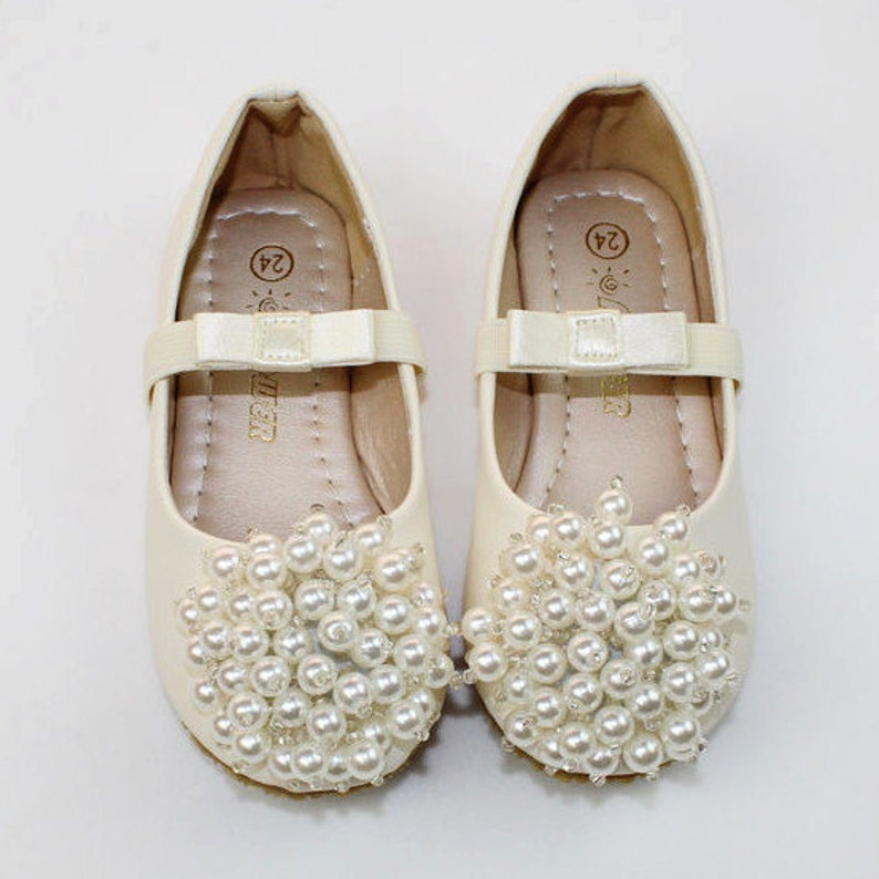 96bddd2e3c1d Ivory Flower Girl Shoes  ivory pearl Toddler Girl Shoes Pearl