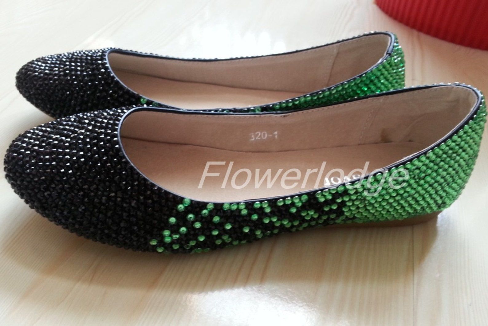 crystal flats shoes, rhinestone ballet flats soft comfortable flats slipper shoes, green black sparkle women shoes