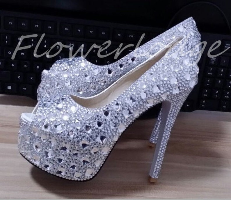 Sparkle crystal shoes women dress shoes rhinestone heels  f9bca64da9d5