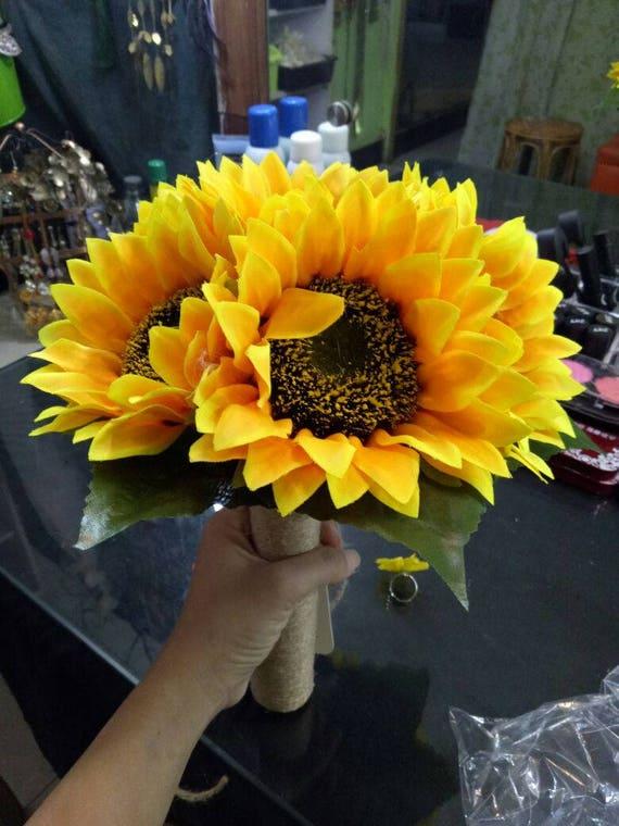Sunflower bouquet simple bridal flowers bouquet yellow etsy image 0 mightylinksfo