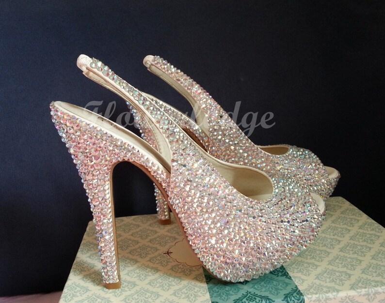 9b81cff56b7ef8 Sandals Womens-Swarovski crystal rose gold AB color sparkle