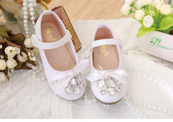 White Flower Girl Shoes Toddler Girl Shoesrhinestone Stones Etsy