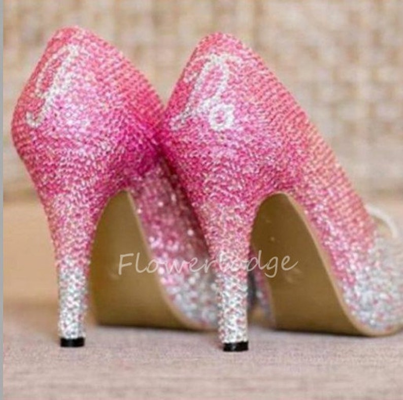 8ed5a10b0c4c Pink Crystal Shoes Classic Pumps Slippers Sparkly lady shoes
