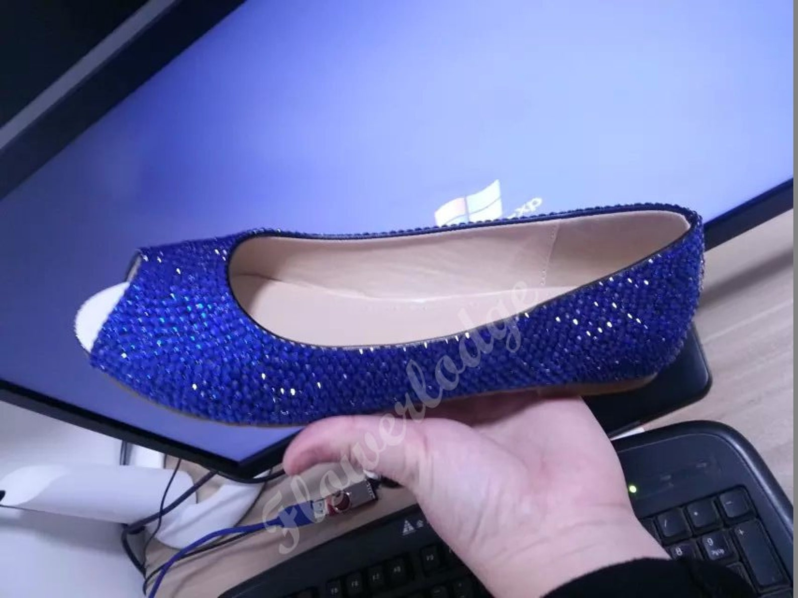 royal blue crystal flats shoes custom flats closed toe ballet flat shoes customize peep toe flats soft comfortable blue women sh