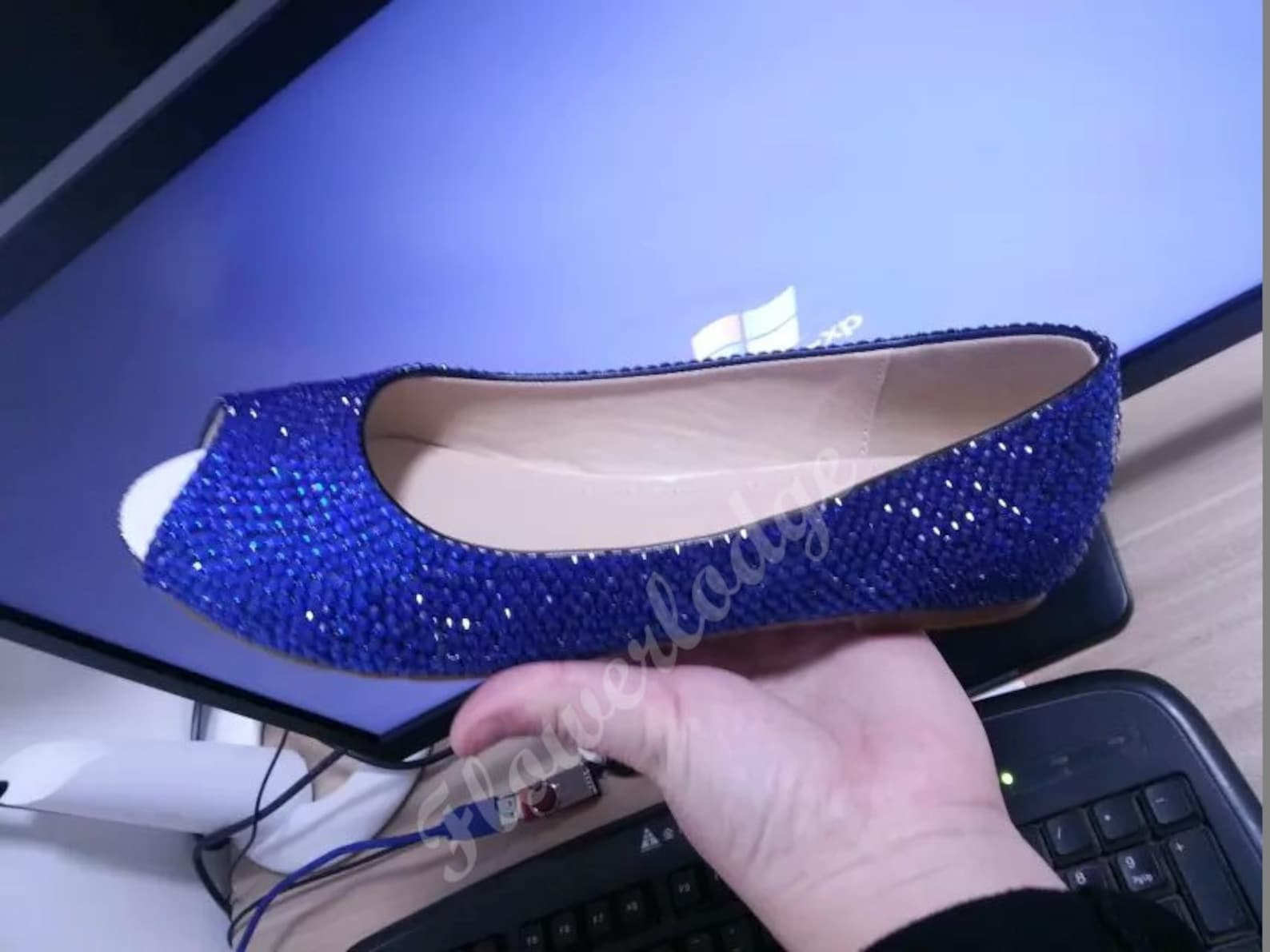 blue crystal shoes open toe ballet flat shoes royal blue rhinestone custom woman shoes flower girl shoes youth girl shoes peep t