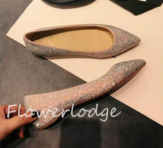 842bc6cce60f1 Bling Bling Pointed Toe Ballet Flats AB shine Sparkle Swarovski crystal  stones color available custom other